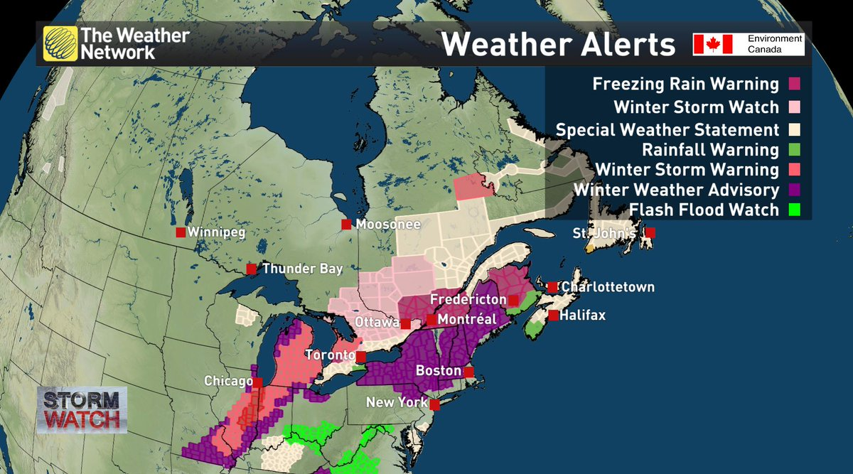It's gonna be a messy day today & tomorrow for cities under weather alters. #onstorm #qcstorm #atlstorm https://t.co/KBrHBbxlGZ