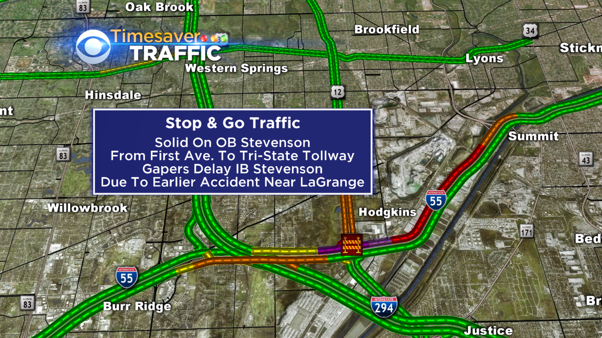 Solid traffic on ob stevenson & now a gapers delay on ib side due to