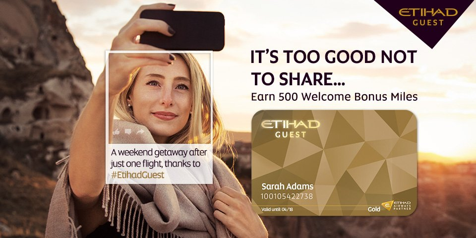Join Etihad Guest today, and earn 500 bonus miles: