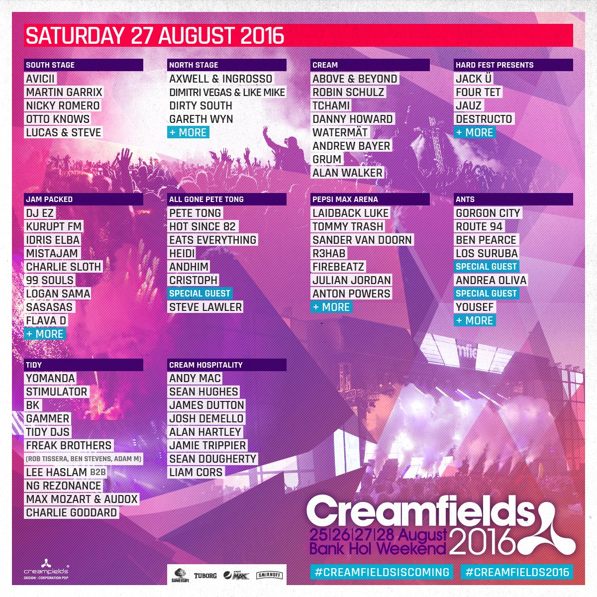 Drum Roll please...#Creamfields2016 line up has landed. #Creamfieldsiscoming https://t.co/Rk7F7miskk https://t.co/kdvgiOUUOT