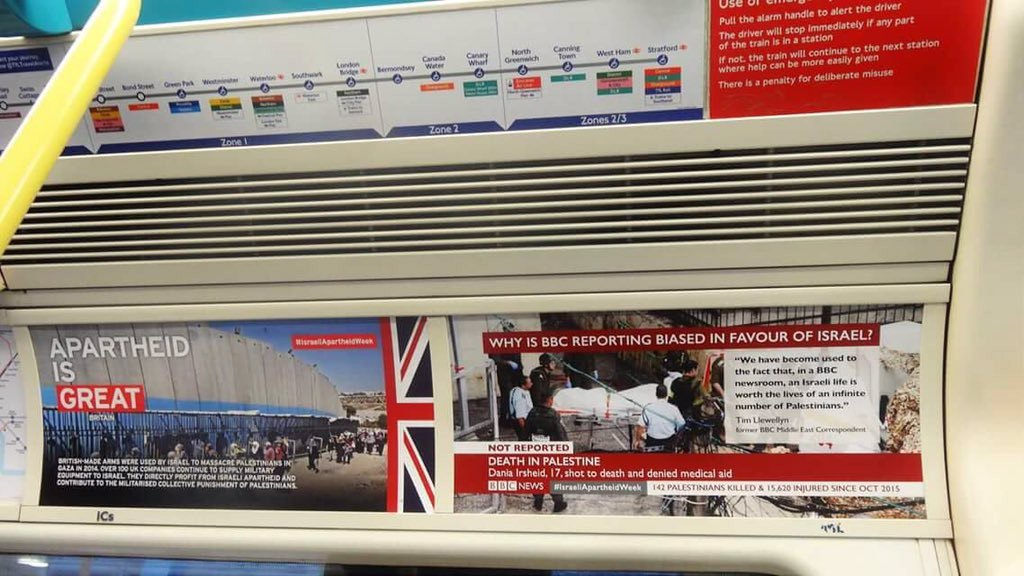 "Breaking: @TfL says anti-Israel posters on tube are ""unauthorised... fly-posting, act of vandalism"", being removed https://t.co/5IGknFNnsM"