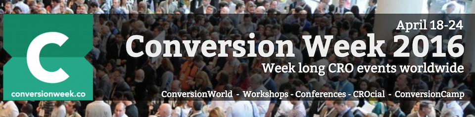 April 18-24 2016 is now Conversion Week - we unite global and local events in one #CRO week: https://t.co/2HCSEjbNtI https://t.co/WZlPavrD61