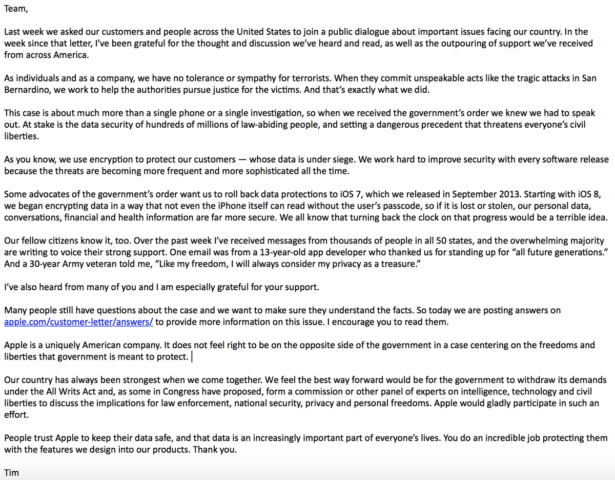 """Tim Cook: Apple CEO Tim Cook pens letter to employees: """"We use"""