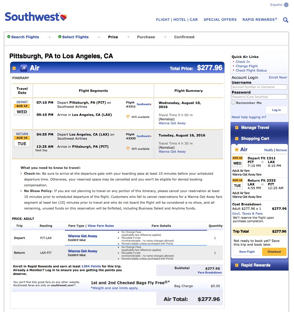 Pittsburgh PIT to Los Angeles LAX $278 nonstop on Southwest for late summer travel