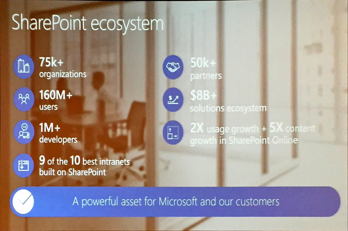 """Think #SharePoint is """"dead""""? Check the stats from @sethpat in his #SPTCKeynote. #SharePoint is """"back"""". https://t.co/Ayzep9in0F"""