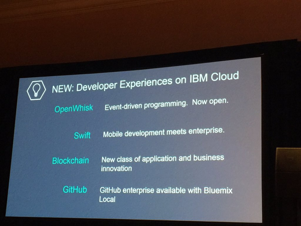 OpenWhisk, Swift, Blockchain, GitHub: IBM double downs on great developer experiences for Cloud #ibminterconnect https://t.co/tgngeR2Itk