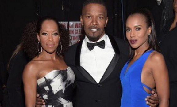 Kerry Washington reunites with Ray co-stars Jamie Foxx & Regina King for