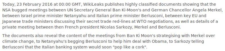 RELEASE: NSA intercepts+buggings of Ban KiMoon, Merkel, Netanyahu, Sarkozy & Burlusconi