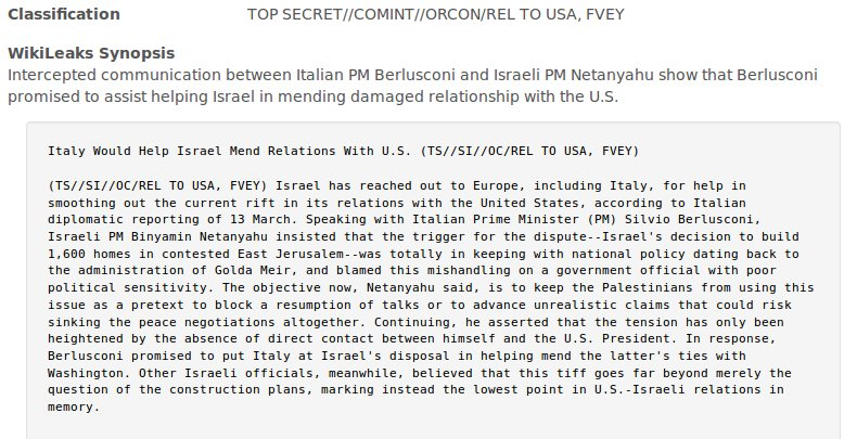 RELEASE: NSA intercept of Netanyahu talking to Belusconi about Israel's bust up with Obama
