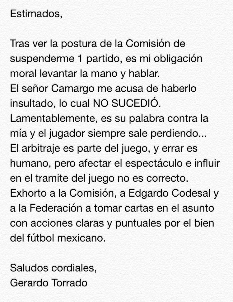 A la Comisión de arbitraje, prensa, afición y medio futbolístico: https://t.co/DCaFTzlAD2
