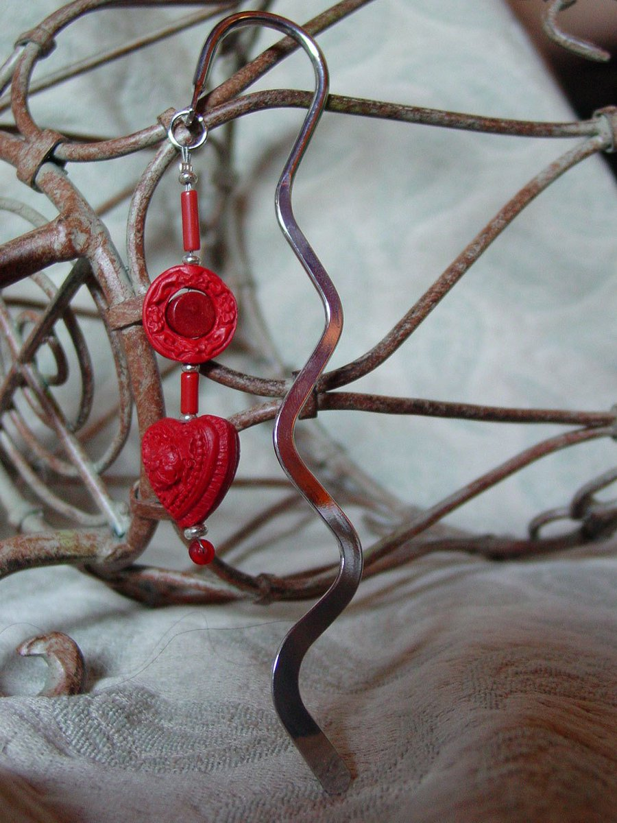 red metal bookmark - valentine cinnabar - carved heart squiggle -… https://t.co/mXOSQV6EX1 #Etsyhandmade #BookLover https://t.co/VlSA7K9NuG