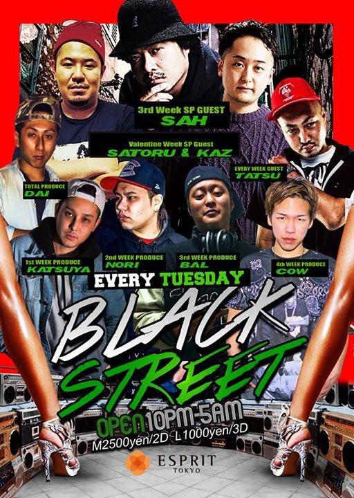今夜は毎週火曜日開催のBLACK STREET at ESPRIT TOKYO!  毎週HIP HOP中心にALL GOOD MUSICで一晩盛り上がっております!  今週はYU-RI氏も参戦です!  夜遊び予定の方は是非っ! https://t.co/6z3lKcI3T5