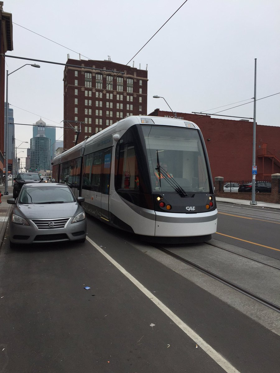 .@kcstreetcar testing in the @KCCrossroads today! ❤️