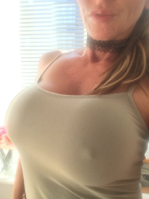 1 pic. Naughty me went out without a bra today.. ??? Enjoy these boys.. #tittytuesday #milf #nobra #hardnipples