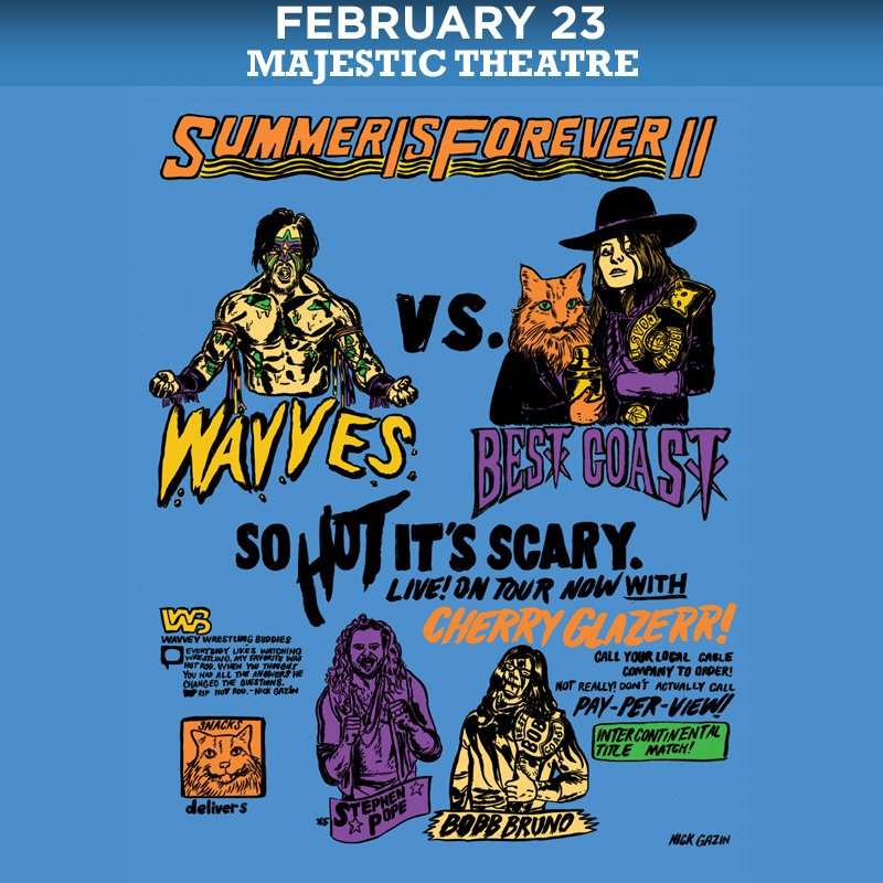 SUMMER IS HERE @BestCoast @wavves @cherryglazerr tonight at the Majestic Theatre! https://t.co/ySyf1KwrkM https://t.co/4xj6ul8kbP