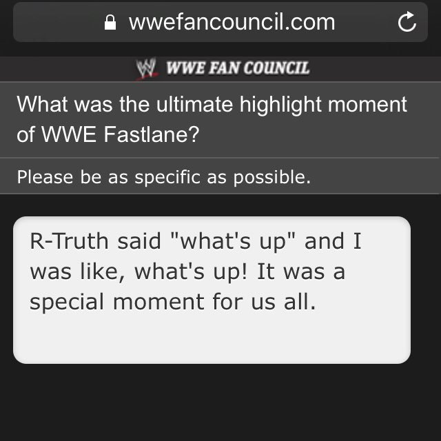 I'm one of the select few able to provide feedback to WWE via the Fan Council. Here's my priceless feedback to them. https://t.co/b27OhMj3Sk