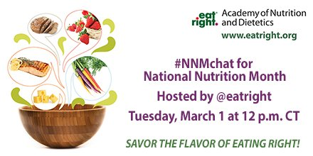 Mark your calendar! To celebrate #NationalNutritionMonth, we're hosting #NNMchat on Twitter on Tuesday, March 1st. https://t.co/m7QNKuPN40