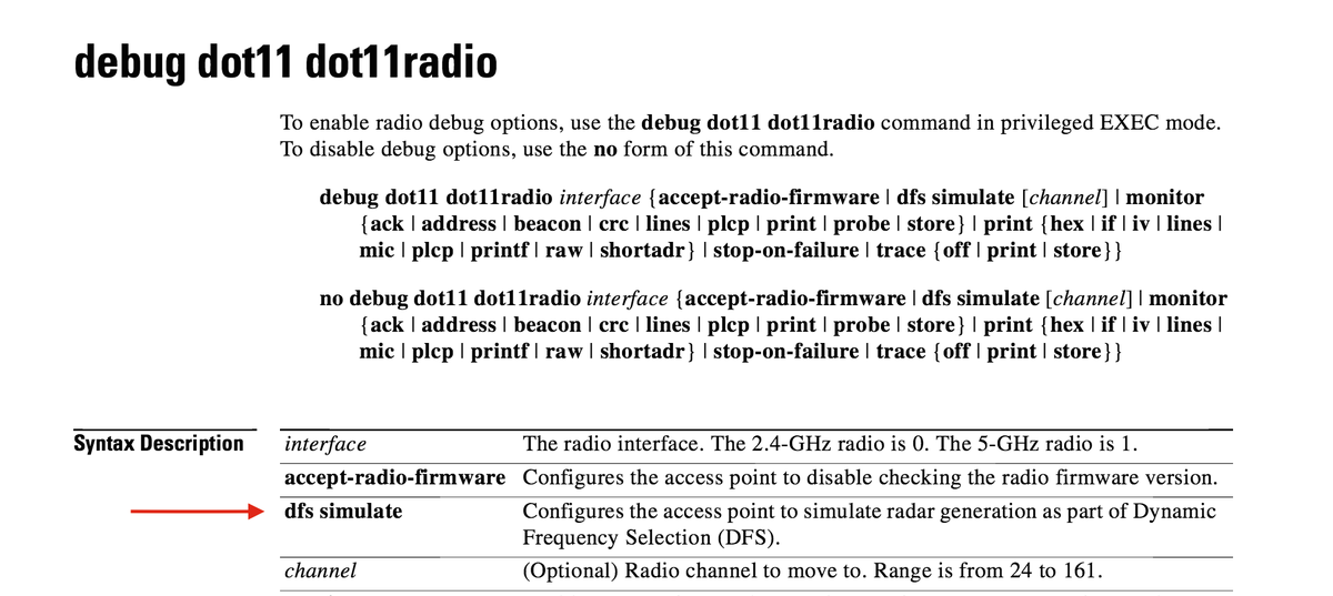 Command that @DevinAkin just referenced for DFS event simulation in Cisco wireless shown here. #WLPC https://t.co/V5bsZNolcD
