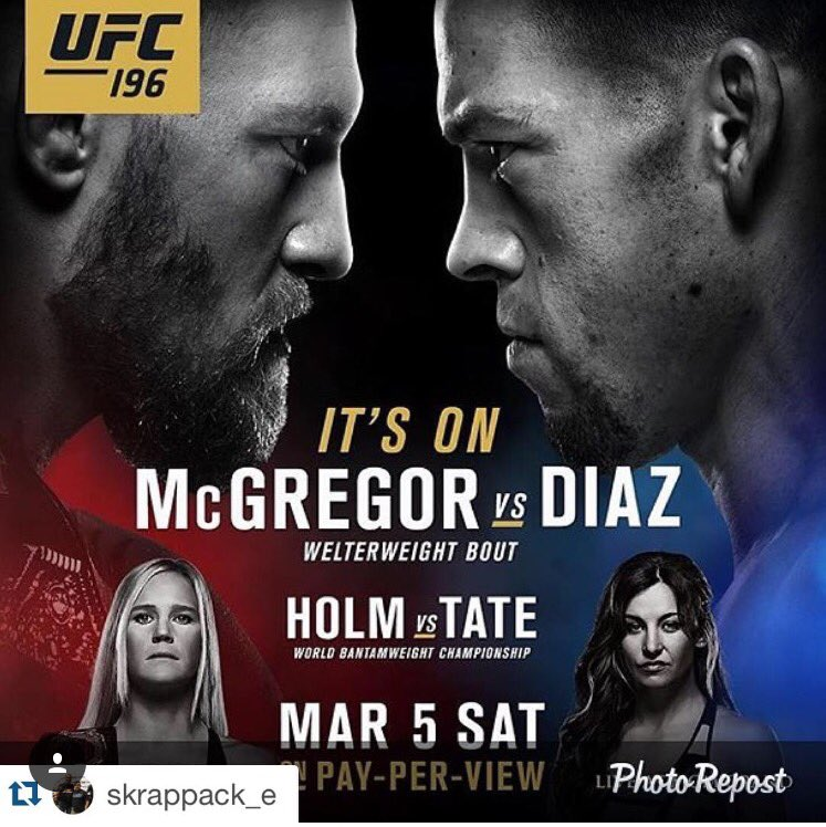 Shit just got real!! When one door closes another one opens. Let's goooo @NateDiaz209 #UFC196 #McGregorVSDiaz https://t.co/qHHj3vFRqo