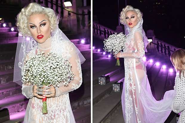 Brooke candy flashes latex underwear in see-through wedding dress ...