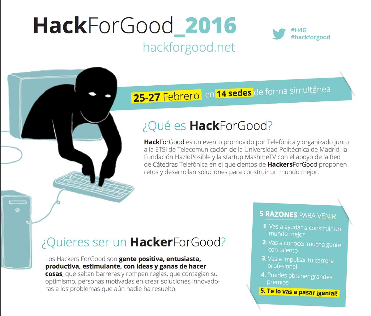 #HackForGood: Apps para mejorar el mundo. 14 ciudades. 25-27 feb. Únete y cambia las cosas https://t.co/jsu85LZ5pP https://t.co/DRhgPUCqNE