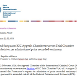 #ICC Appeals reverses TCV(A)'s decision on admission of prior recorded testimony https://t.co/KzQHTxyNOt #Ruto #Sang https://t.co/WJDSbEuDN5