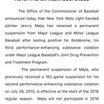 #MLBs statement on Jenrry Mejias permanent ban from baseball. #mets https://t.co/jp0WibDANj