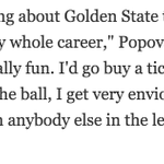 This Pop quote about the #Warriors from @ESPNSteinLines piece is the highest praise I can think of in hoops. https://t.co/GcwRpivUvW