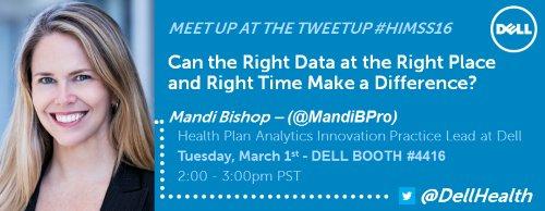 .@MandiBPro #HIMSS16 MeetUp at TweetUp @DrJosephKim Right Data, Right Place, Right Time https://t.co/yVQGIOZkGz https://t.co/q6LX0Iipfd