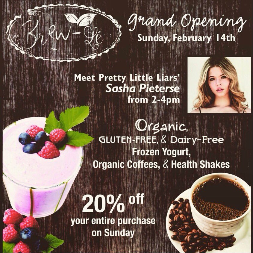 DONT FORGET!..MEET @SashaaPieterse at her new gig @LetsBrewLe TODAY 2-4PM PST!..follow too!..show your support!  https://t.co/tK2TLAOzjq