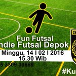 FunFutsal | Minggu 14/2 Pkl 15.30 | at Indie Futsal, Depok | HTM : 10k | Cp : @chie0492 @Mitra_AbdillahL (cek pict) https://t.co/CgBCUyZAhg
