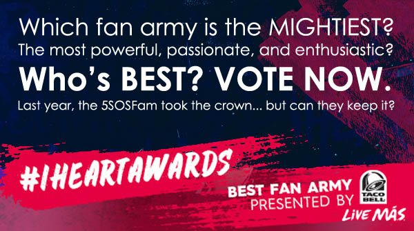 Can you defend your place on top, @Tha5SOSFamily? #5SOSFam #BestFanArmy #iHeartAwards VOTE: https://t.co/NJX3dJsWNr https://t.co/ZyNYlhA9ZW
