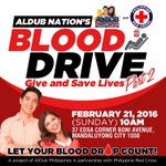 Blood drive Give and Save lives part two! Let your blood drop count! ADN @philredcross #ALDUBValentinesDate https://t.co/Hxejo9X33E
