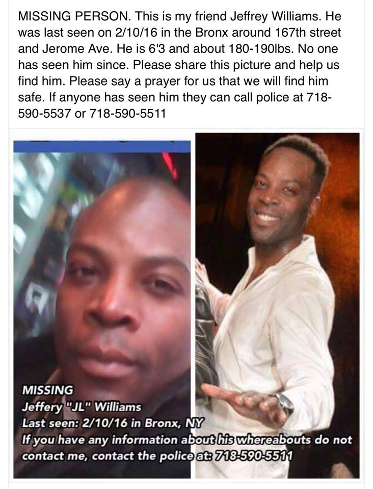 Broadway dancer JL Williams has been missing for three days. Please pass this information along if you can. https://t.co/52q66kfhpL
