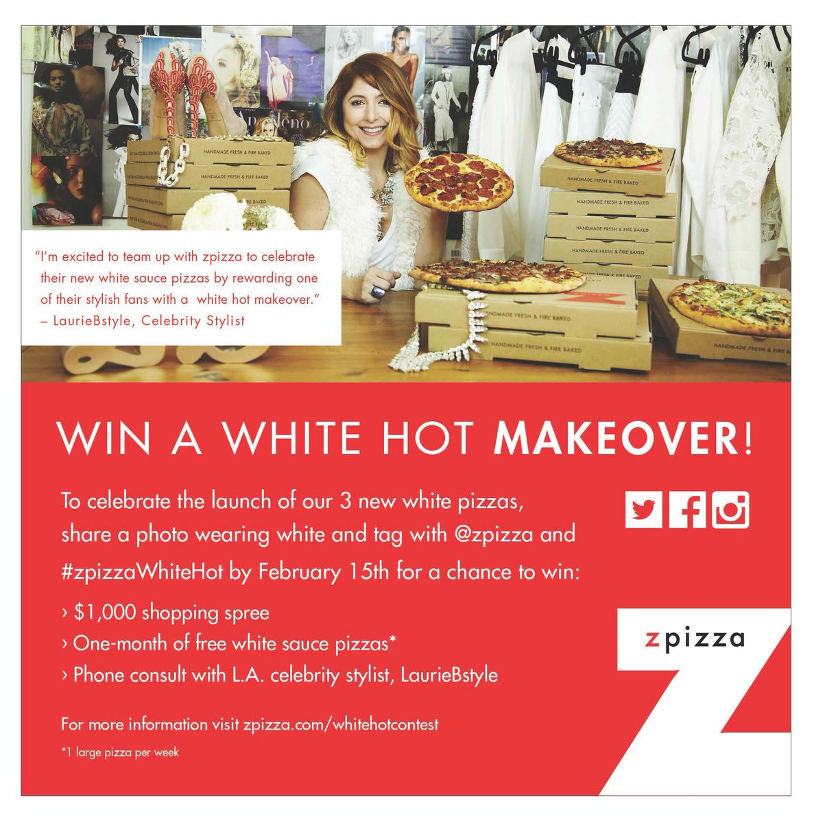 The @zpizza White Hot giveaway is  almost over!!  Have you entered? There's still time!  #zpizzawhite hot https://t.co/d4x5LZPfBY