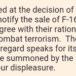 We are disappointed at the decision of the Obama Administration to notify the sale of F-16 aircrafts to Pakistan https://t.co/NGdrAL2m9i