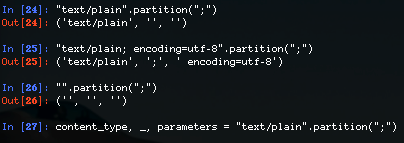 Python's str.partition(…) method is great. It always returns a 3-tuple, so super useful with destructing: https://t.co/ywDorXWjEU
