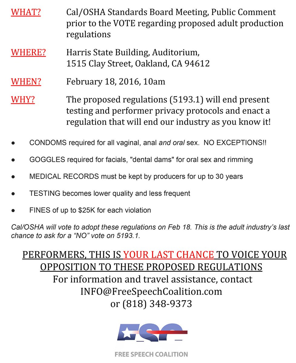 RT : Performers, this is important: please read & RT #OSHA #MyBodyMyChoice #ProposedCondomLaw