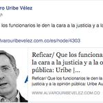 Reficar/ Que los funcionarios le den la cara a la justicia y a la opinión pública: Uribe https://t.co/9wEcS7CHva https://t.co/z1iOlnDA9L