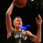 .@kporzee throwing dimes, smashing dunks, & now up to 17p, 3r, 3a! #KnicksTOThe6 #BBVARisingStars https://t.co/JpeiYG3yuk