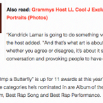 """LL Cool J teases Kendrick Lamars """"Very Controversial"""" Grammy Performance. https://t.co/W3PBCpc5gD"""