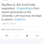 Which section of JNU will YOU speak-out for? Alumni servicemen OR anti-India sloganeering students? #IndiaFirst https://t.co/svkmMq065Z