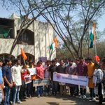 ABVP Pune protested against anti-national activities inJNU at @PuneUniv such activities must b banned, ABVP demanded https://t.co/3Zp3ZmwkZz