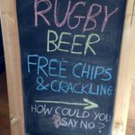 RUGBY BEER FREE CHIPS N CRACKLING IRE VS FRANCE 2.25 WALES VS SCOTLAND 4.5O GET YOURSELVES DOWN #ruddygoodstuff https://t.co/Bg404mFExu