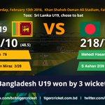Bangladesh U19 won by 3 wickets against SL U19 and finished 3rd. https://t.co/k7ibUVIV2s #Ban19vSL19 #U19CWC https://t.co/ra2iZ5yT3y