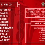 The teams are in! Heres how #SaintsFC, who make four changes, line up for todays clash with the #Swans – https://t.co/ZM1FFzx3Z5