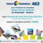 Inicia el #Enlace462 con el Presidente @MashiRafael, desde #Guayaquil https://t.co/jpKUfv7636