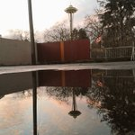 #reflection of a #Saturday #Seattle #sunrise #puddle #street #photography w/@space_needle from @queenanneview #PacNW https://t.co/z8sZg7vpV4