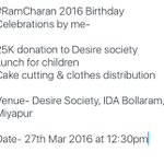 #RamCharan 2016 Birthday celebrations by me, Requesting all fans to attend & make it success. https://t.co/pN6cPULR29