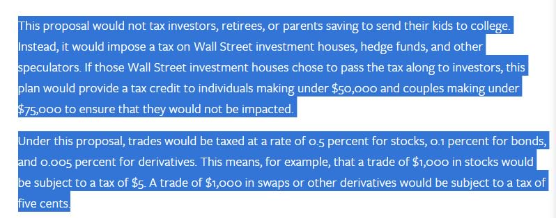 Bernie Sanders 0.5 percent stock transaction tax details on his website https://t.co/VogXK2ClNp https://t.co/cJ0yjhvMCL
